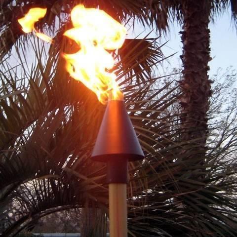 Copper Cone Tiki Torch Manual Light