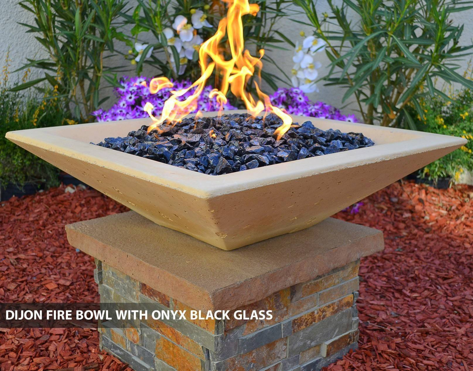 Concrete pool fire bowl square with scupper 36 - Pool fire bowls ...
