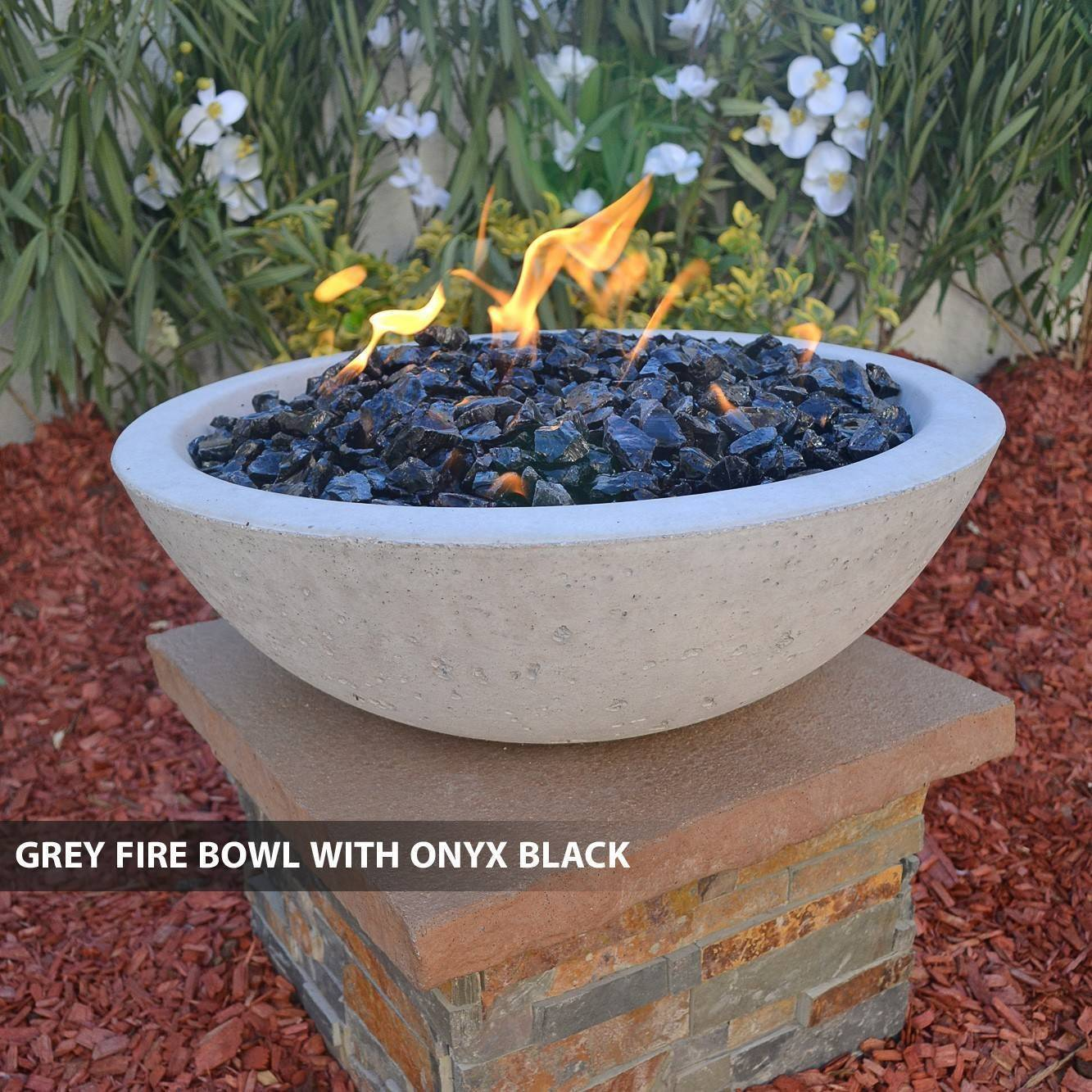 Concrete pool fire bowl round with scupper 39 for Pool fire bowls