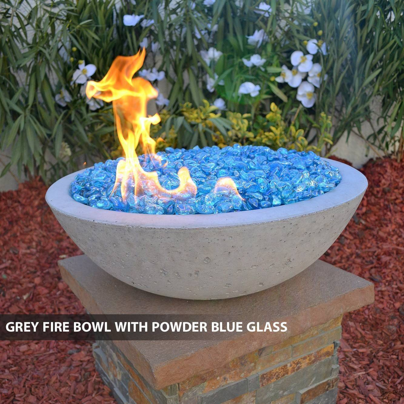 Concrete pool fire bowl round with scupper 27 for Pool fire bowls