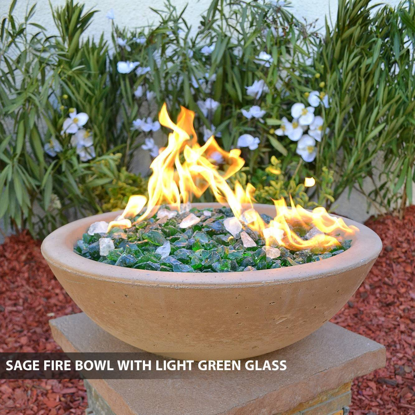 Concrete pool fire bowl round with scupper 33 for Pool fire bowls