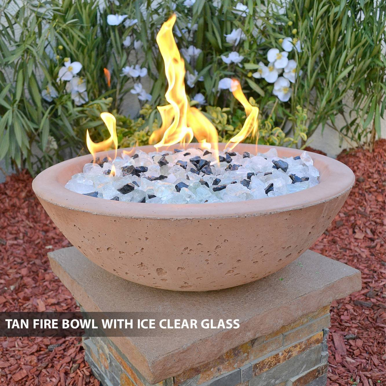 Concrete pool fire bowl round with scupper 33 pool fire for Pool fire bowls