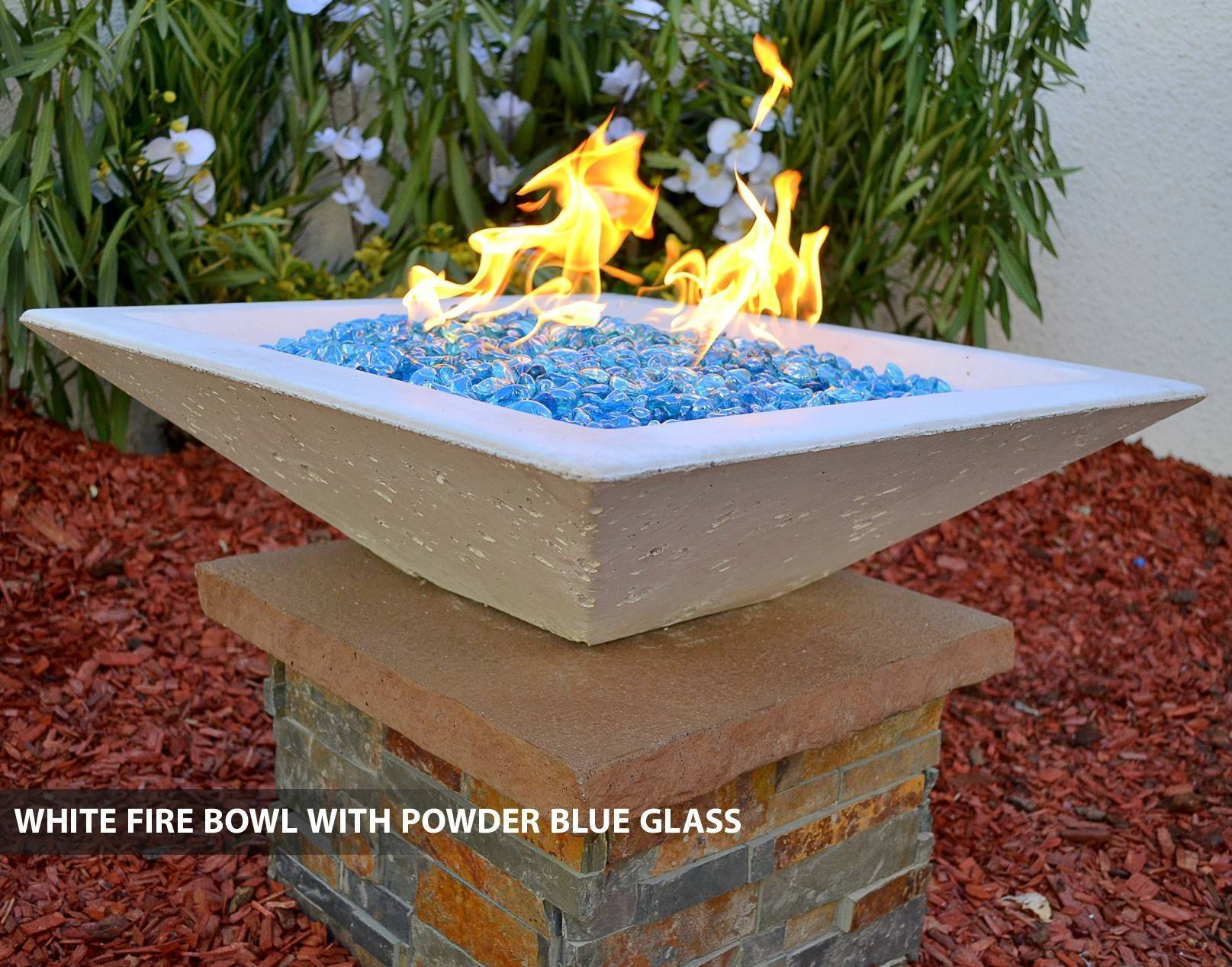 Concrete pool fire bowl square with scupper 30 for Pool fire bowls