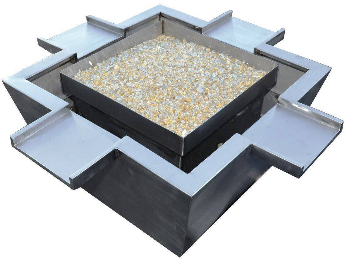"36"" x 36"" Stainless Steel Fire & Water Bowl w/ 4 Scuppers"