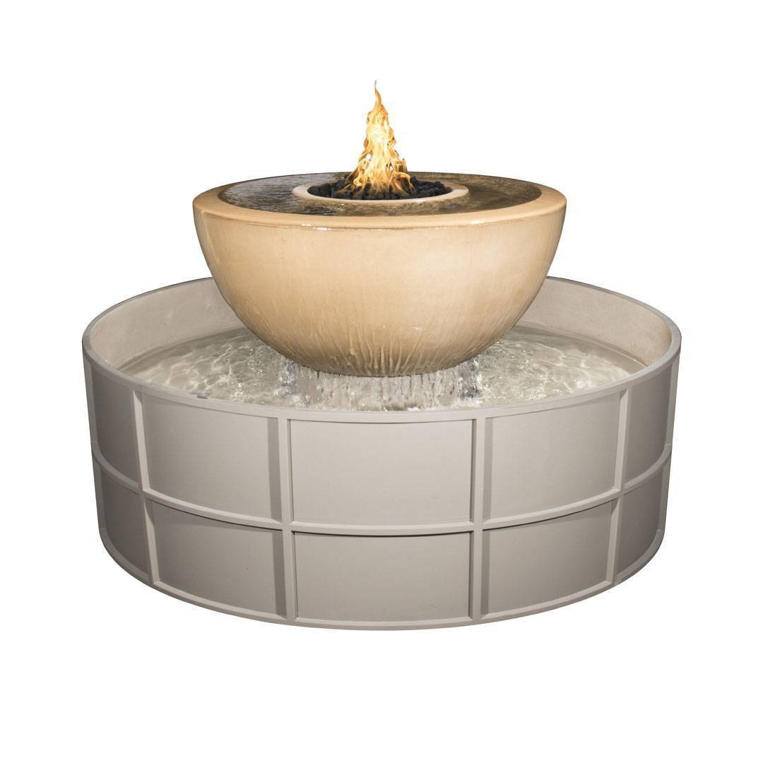 "38"" Sedona 360° Concrete Fire & Water Bowl - With 60"" Self Contained Unit"