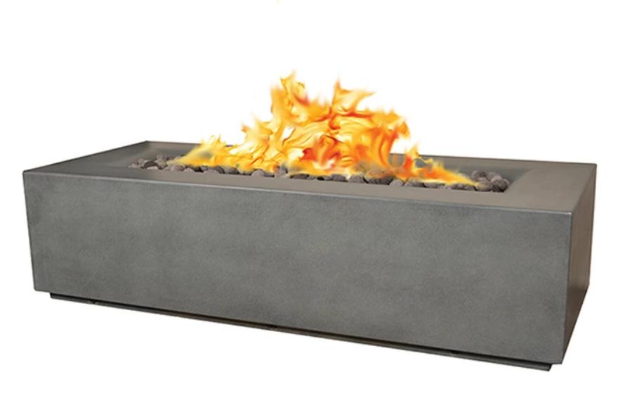 """78"""" x 32"""" x 20"""" Aspen GFRC Concrete Fire Table - Rain Cloud"""