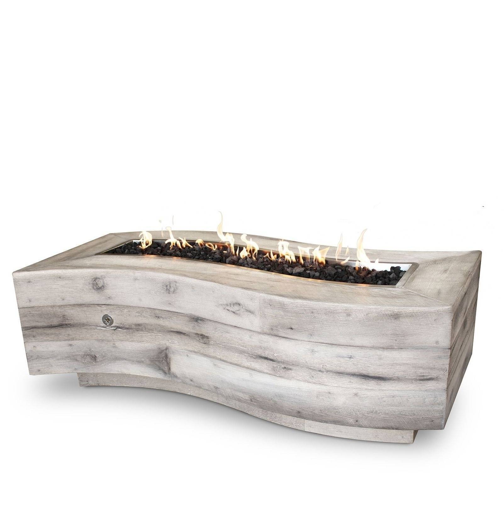 "72"" Big Sur Wood Grain Concrete Fire Table - Ivory"