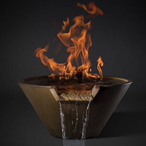 """Slick Rock Concrete 29"""" Cascade Fire ON Water Bowl - Umber"""