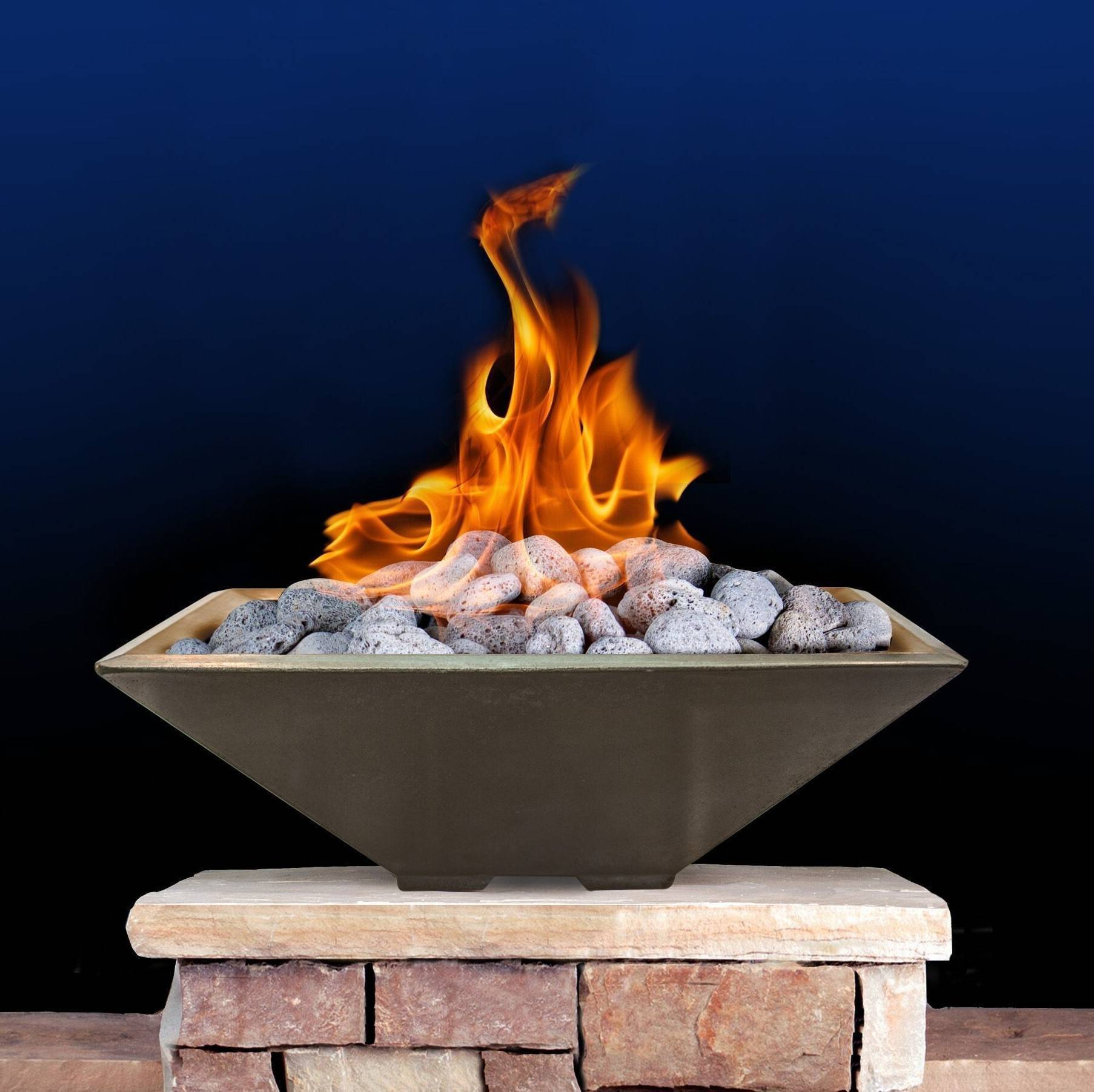 "33"" Square Cast Stone Fire Bowl - Mossrock"