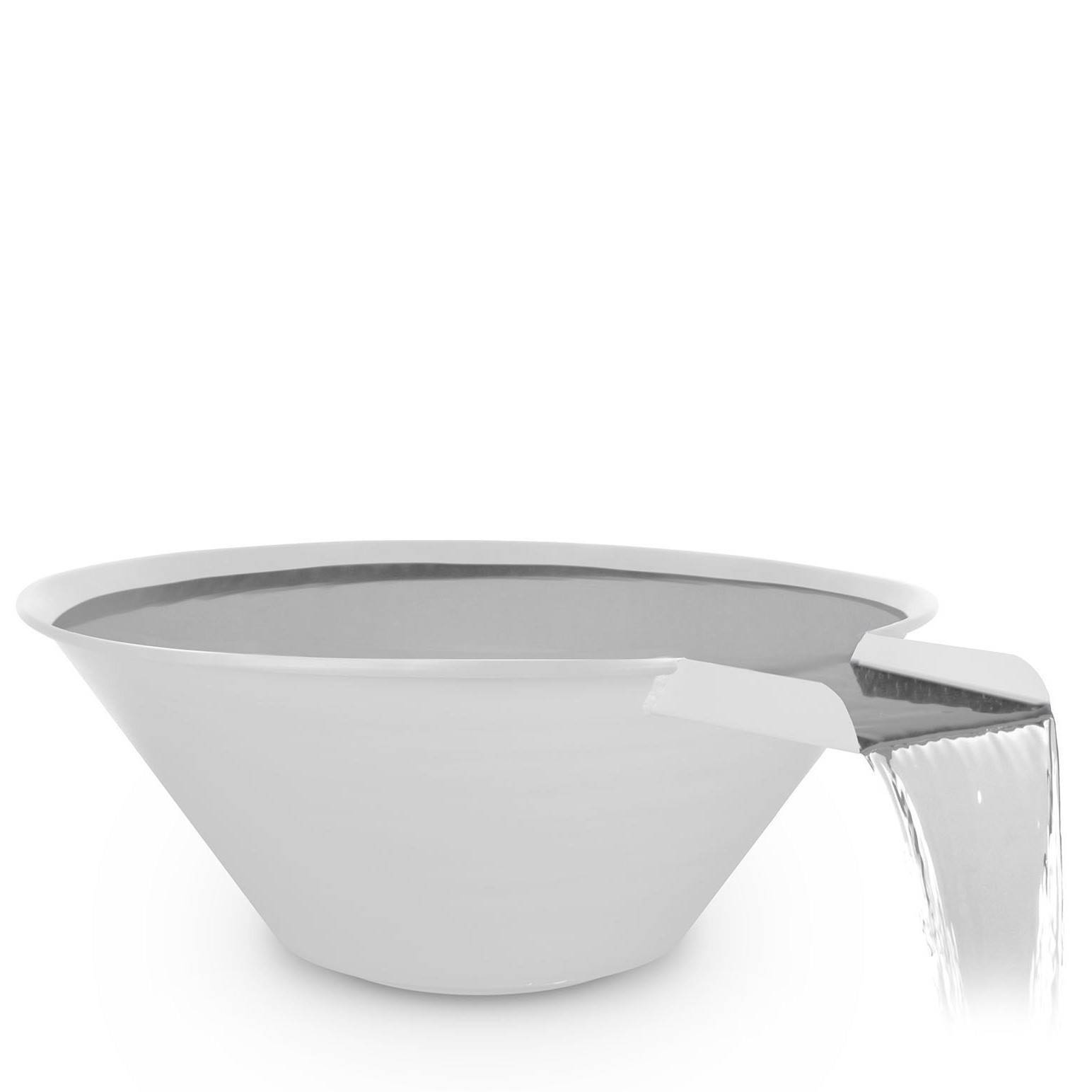"30"" Cazo Pool Water Bowl - White Powder Coated Steel"