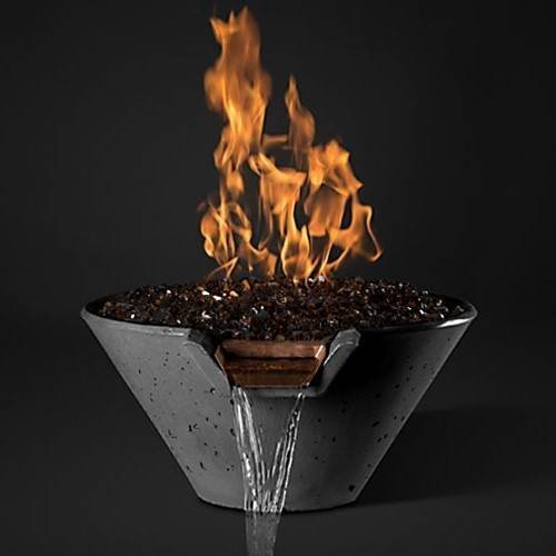 "Slick Rock Concrete 22"" Cascade Fire and Water Bowl - Gray"