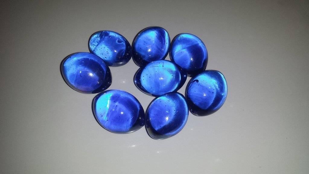 Dark Blue Fire Glass Footballs