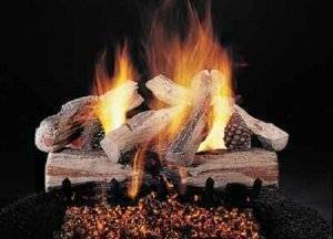 Ceramic Log Set Evening Cross Fire 24''