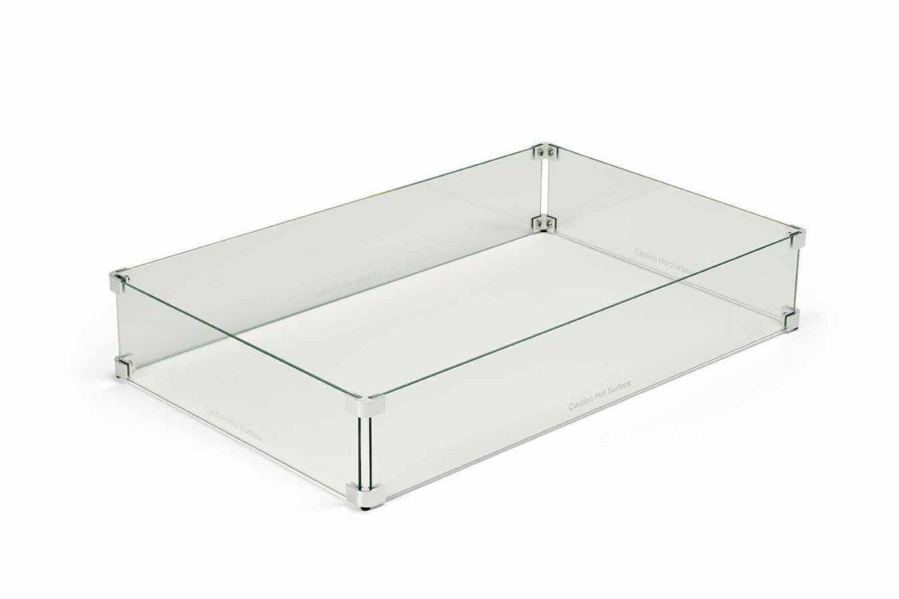Rectangle Fire Pit Glass Wind Guard