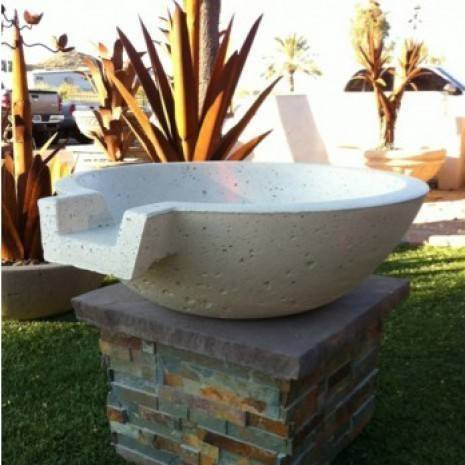 "21"" Pool Fire Bowl with Scupper - White"