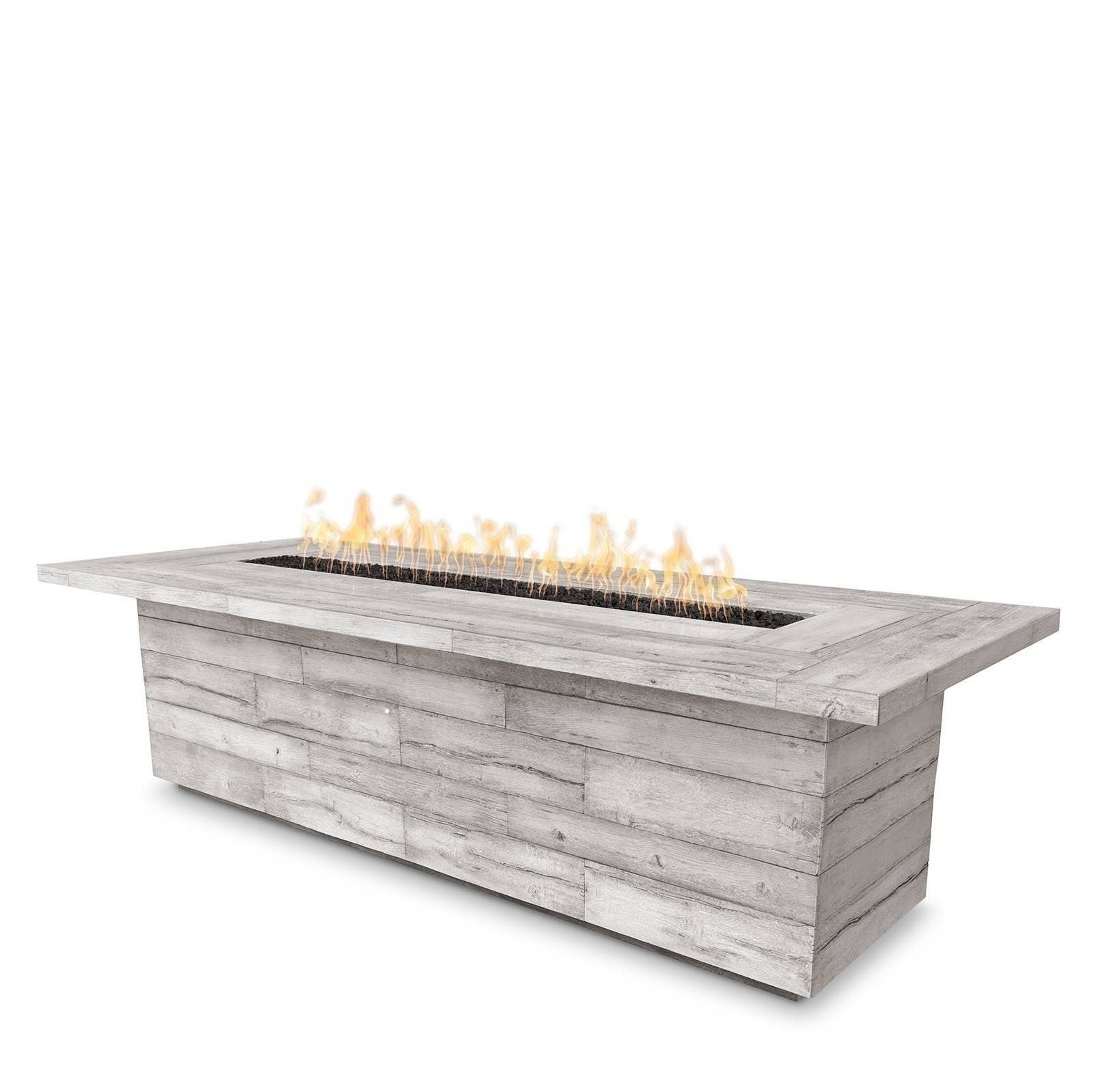 "144"" Laguna Wood Grain Concrete Fire Pit Table - Ivory"