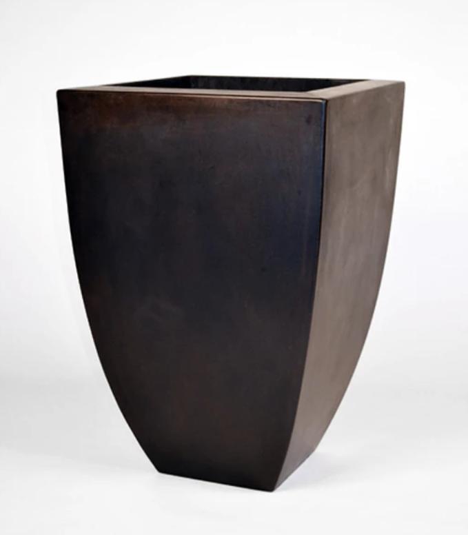 "22"" Legacy Tall Square Concrete Urn Planter - Dark Walnut"