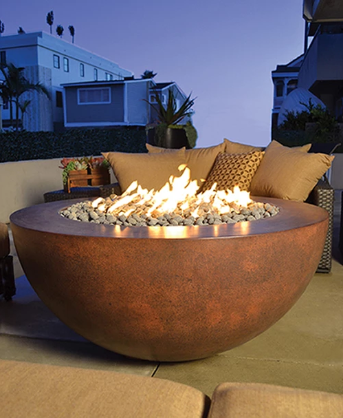 "42"" Luxe GFRC Concrete Gas Fire Table - Burnt Terra Cotta"