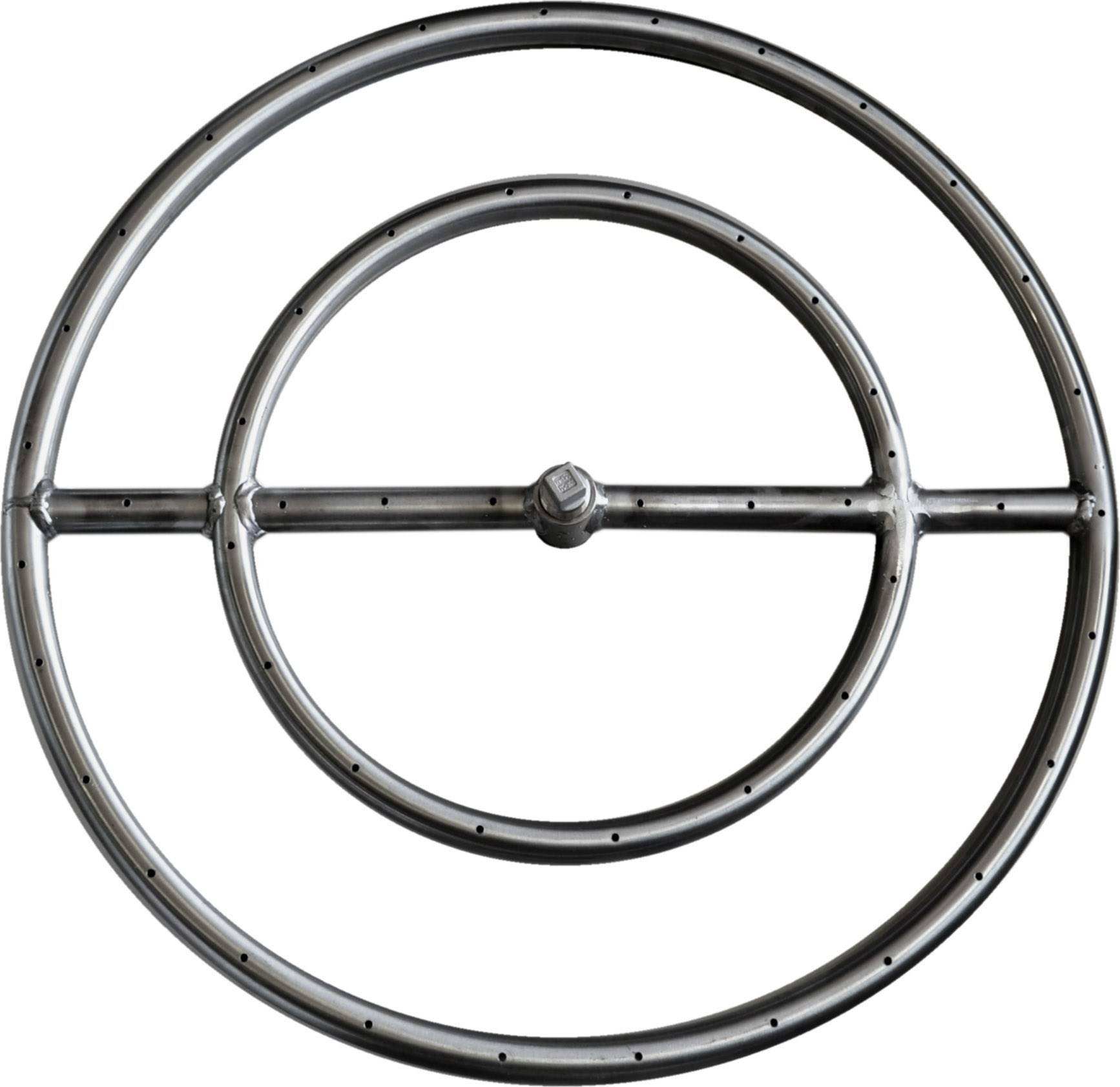 "24"" Stainless Steel Round Gas Fire Ring"