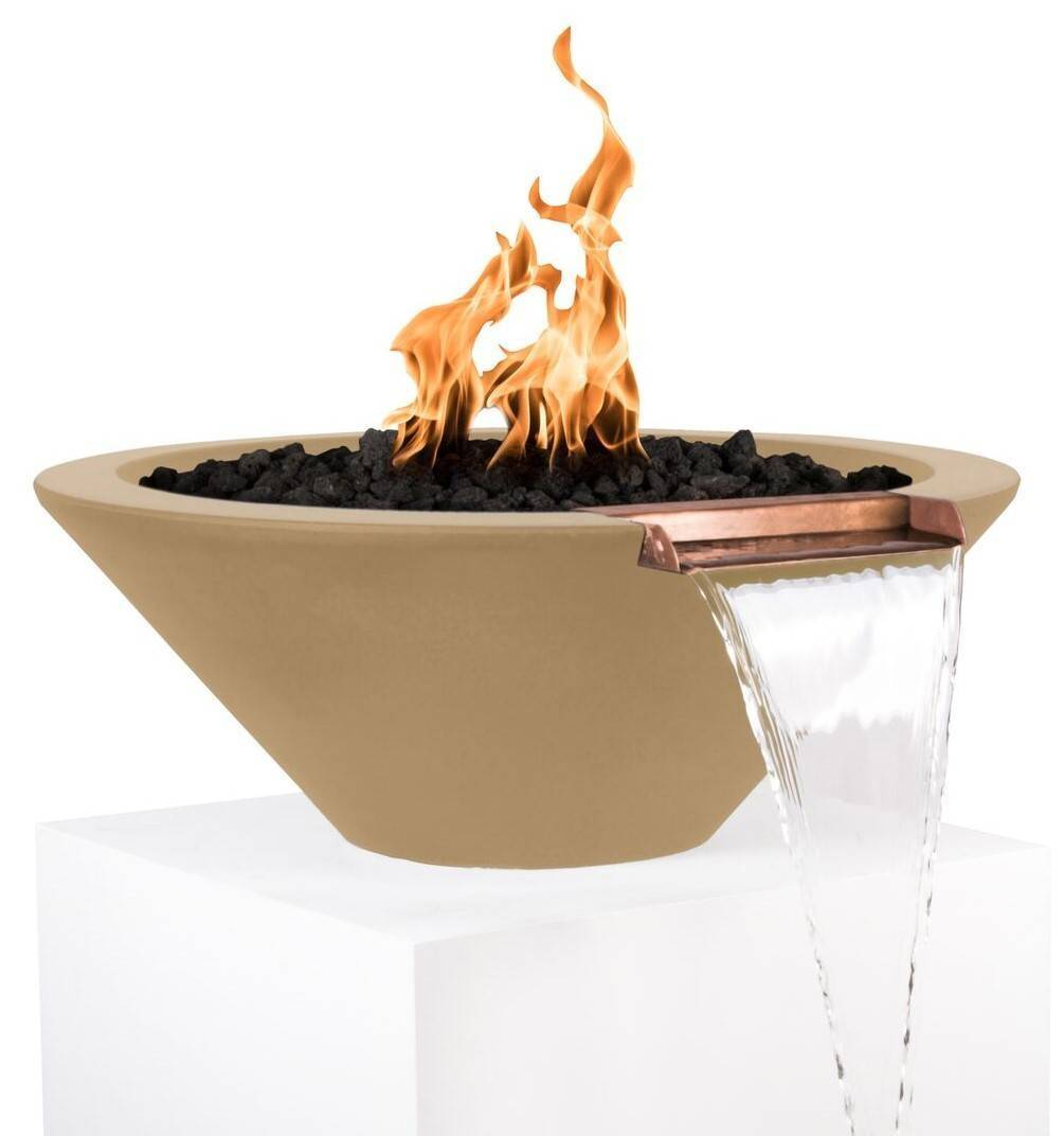 Concrete Cazo Fire & Water Bowl with Scupper