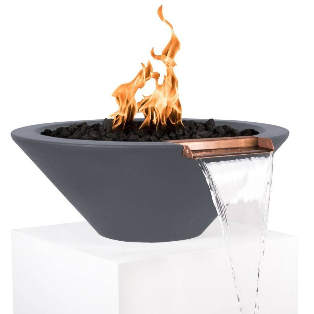 "31"" Cazo Concrete Fire and Water Bowl - Grey"