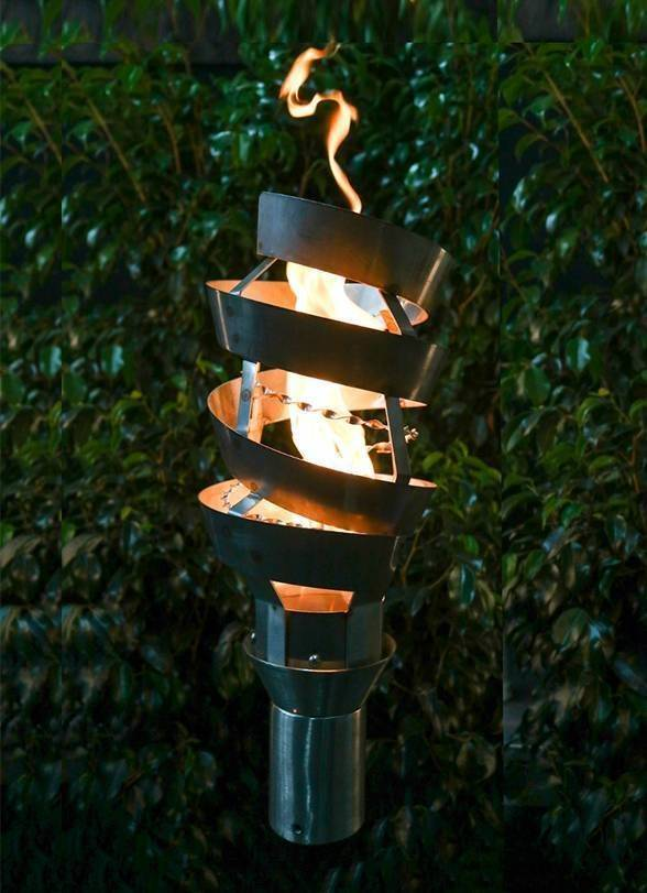 Spiral Top Torch - Gas Tiki Torch