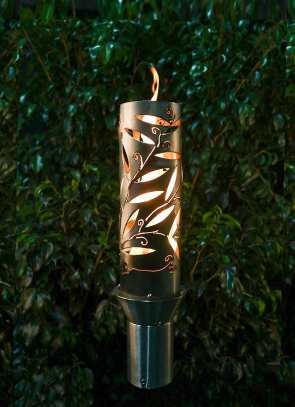 Flower Etched Top Torch - Gas Tiki Torch