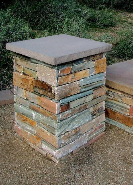 "Concrete Ledgestone Pedestal 34"""