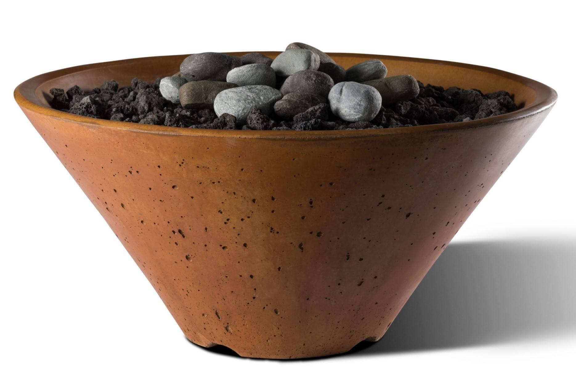 "Slick Rock Concrete 22"" Conical Fire Bowl - Copper"