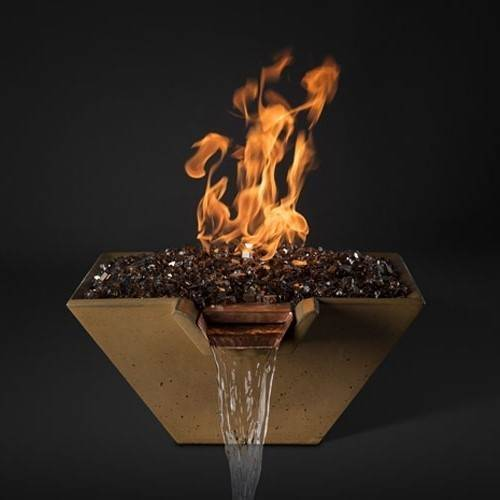 """Slick Rock Concrete 34"""" x 34"""" Cascade Square Fire and Water Bowl - Umber"""