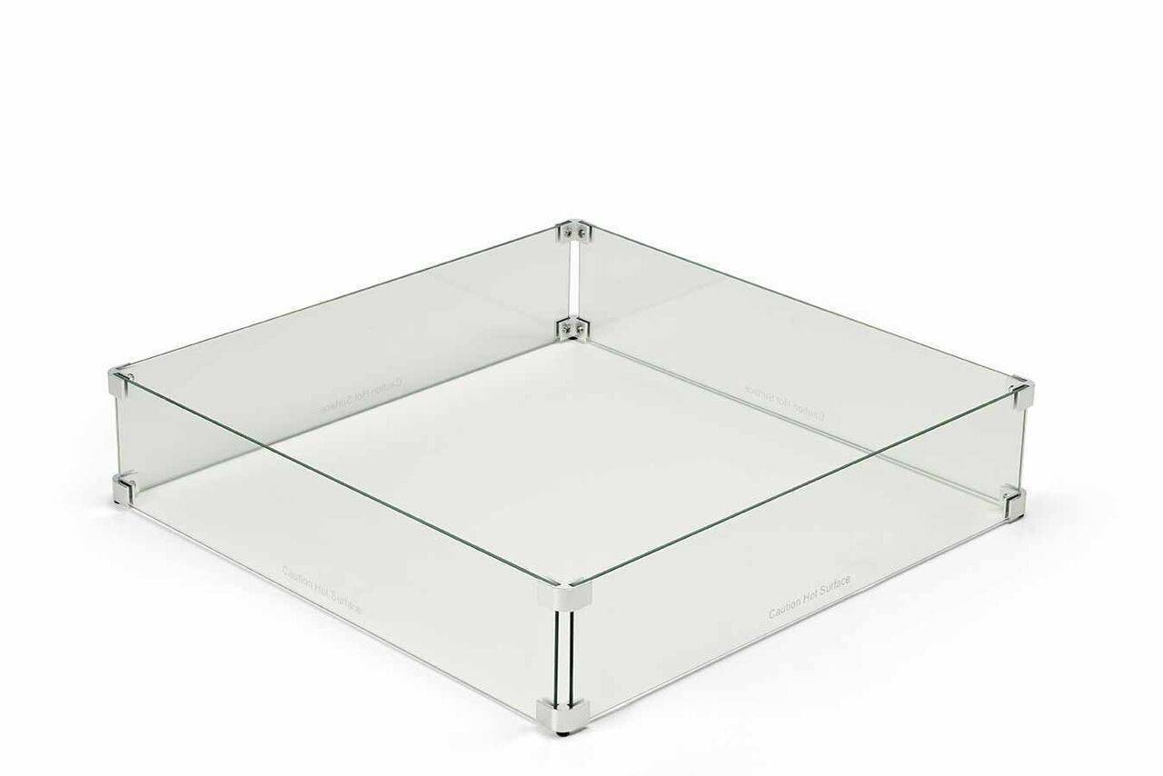 Square Fire Pit Glass Wind Guard