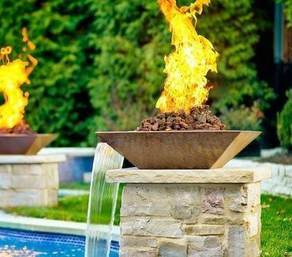 "36"" Classic Concrete Pool Fire Bowl Square with Scupper"