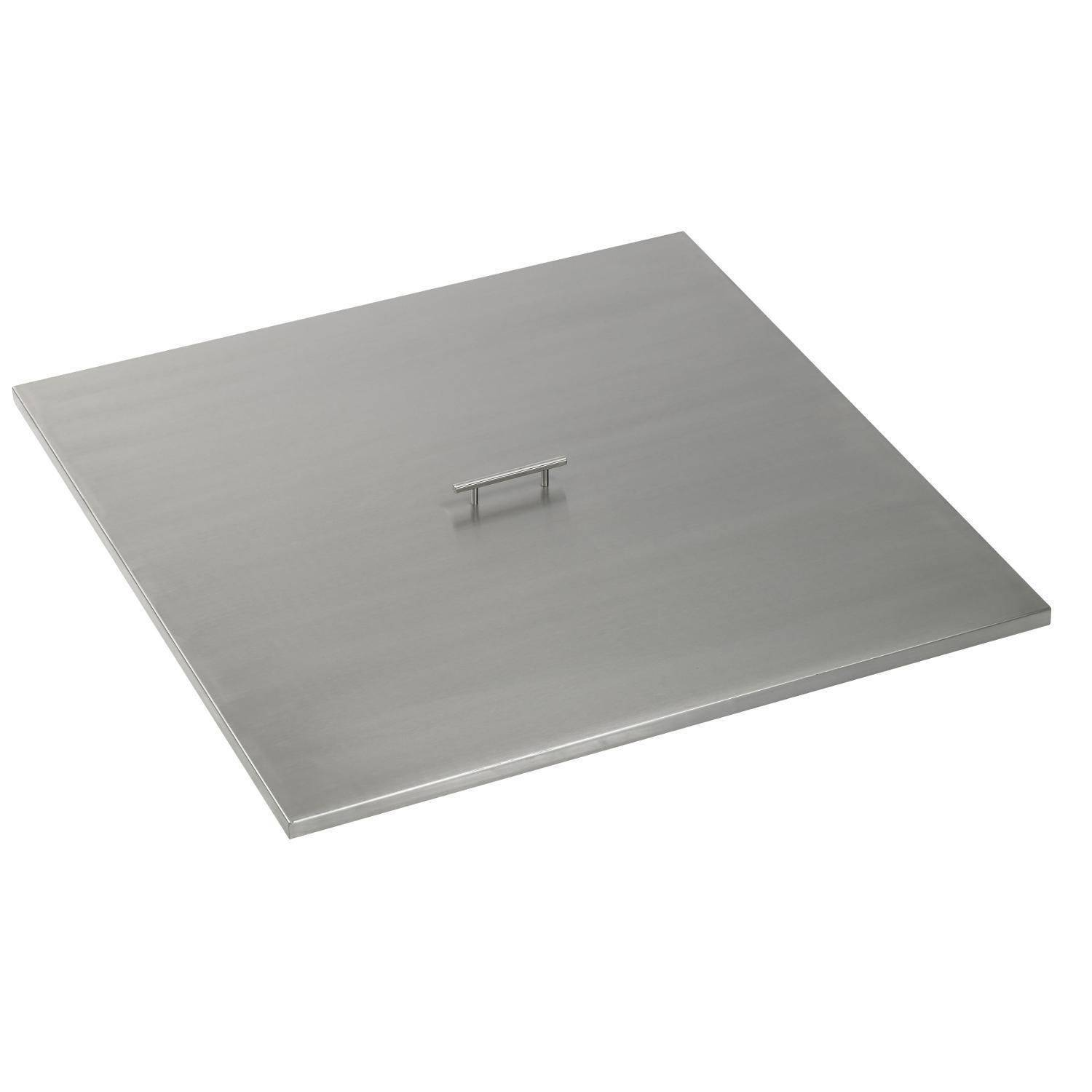 """28"""" x 28"""" Square Stainless Steel Fire Pit Cover -The Outdoor Plus"""