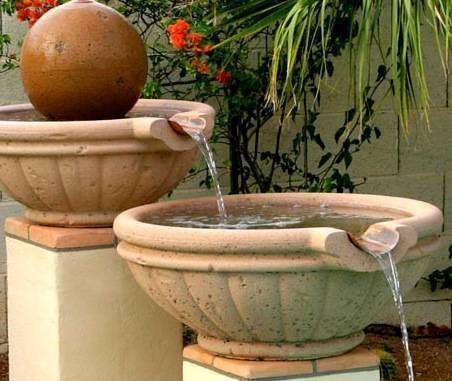 """Pool Fire Bowl Concrete Tuscany with Scupper 30"""""""