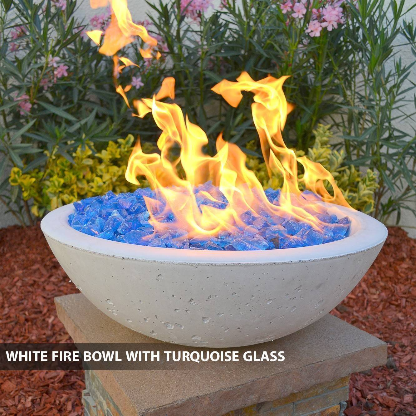 Concrete Fire Bowl White w/ Turqiuose