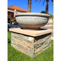 Concrete Fire Bowl Roman - Sand with White Wash