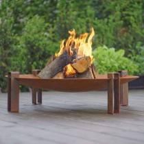Alna Wood Fire Pit - Rusting Steel