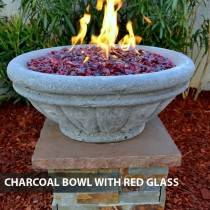 Concrete Fire Bowl Tuscany Charcoal w/ Red Fire Glass