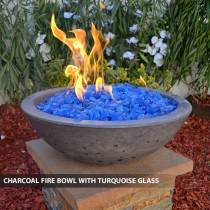 Concrete Fire Bowl Charcoal w/ Turquoise