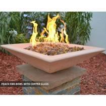 Concrete Fire Bowl Square Peach with Copper Fire Glass
