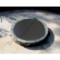 Round Fire Pit Cover Snuffer on Fire Pit