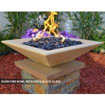 Concrete Fire Bowl Square Dijon with Black Fire Glass