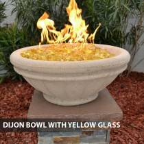 Concrete Gas Fire Bowl Tuscany Dijon w/ Yellow Fire Glass