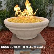 Concrete Gas Fire Bowl Tuscany Dijon w/ Yellow Fire Glass