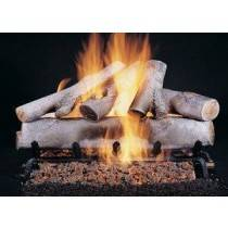 Ceramic Log Set White Birch 18''