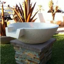 "33"" Concrete Pool Fire Bowl w/ Scupper"