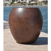 "30"" Luxe Urn Planter Bowl - Burnt Terra Cotta"