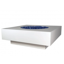 Midway Square Concrete Fire Table - White