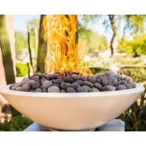 "Pebble Tec 33"" Concrete Round Fire Bowl on Fire - Honed Carrara"