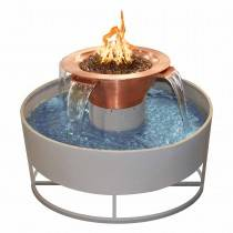 "30"" Olympian Copper Fire & Water Bowl w/ 4 Scuppers - With 60"" Self Contained Unit"